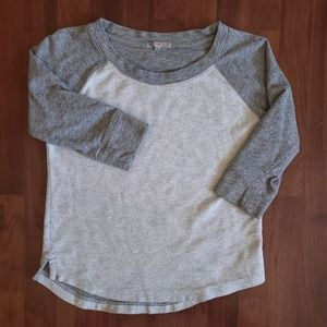 3/$25 Gap terry raglan sweater 3/4 sleeve gray